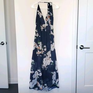 Zaful - Jeykay Floral Halter Sheer Overlay Dress